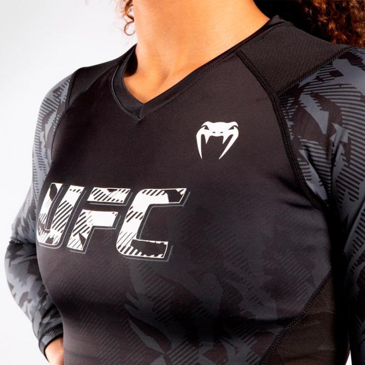 Venum UFC Damen Authentic Fight Week Kompressionshemd Langarm Schwarz