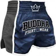 Muay Thai Short Buddha Retro x Blau Kids